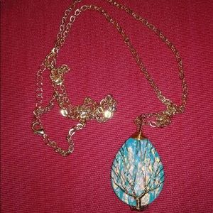 Jewelry - Copper Wire Wrapped Blue Resin Plastic Water Drop